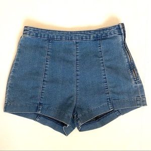 H&M High Waisted Denim Shorts with Side Zipper 8